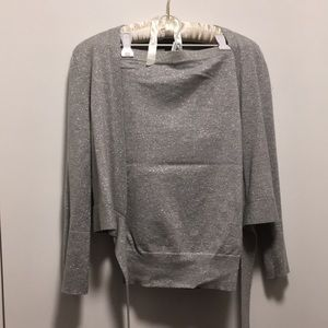 Silver sparkly cropped cardigan and tube top